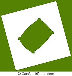 Pillow sign illustration. Vector. White icon obtained as a...