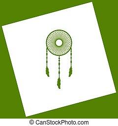 Dream catcher sign. Vector. White icon obtained as a result...