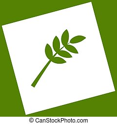 Tree branch sign. Vector. White icon obtained as a result of subtraction rotated square and path. Avocado background.