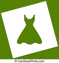 Woman dress sign. Vector. White icon obtained as a result of...
