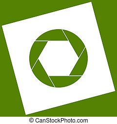 Photo sign illustration. Vector. White icon obtained as a result of subtraction rotated square and path. Avocado background.