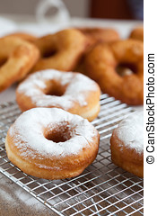 Doughnut with icing sugar - Freshly baked doughnuts...