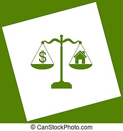 House and dollar symbol on scales. Vector. White icon...