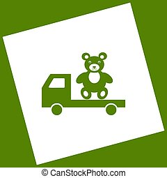 Truck with bear. Vector. White icon obtained as a result of...