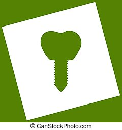 Tooth implant sign illustration. Vector. White icon obtained...