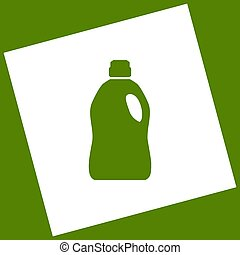 Plastic bottle for cleaning. Vector. White icon obtained as...