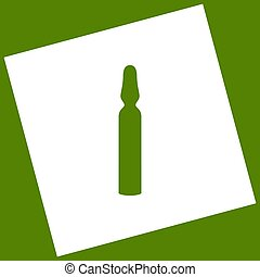 Medical ampoule sign. Vector. White icon obtained as a...