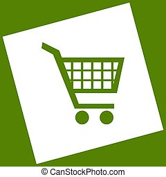 Shopping cart sign. Vector. White icon obtained as a result...