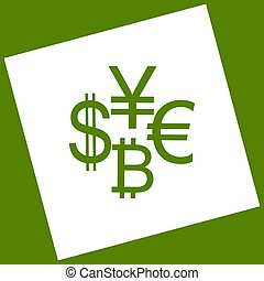 Currency sign collection dollar, euro, bitcoin, yen. Vector. White icon obtained as a result of subtraction rotated square and path. Avocado background.