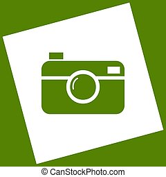Digital photo camera sign. Vector. White icon obtained as a...