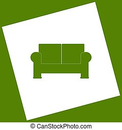 Sofa sign illustration. Vector. White icon obtained as a...