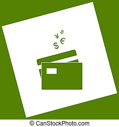 Credit cards sign with currency symbols. Vector. White icon obtained as a result of subtraction rotated square and path. Avocado background.