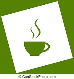 Cup sign with two small streams of smoke. Vector. White icon obtained as a result of subtraction rotated square and path. Avocado background.