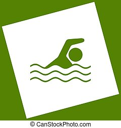Swimming water sport sign. Vector. White icon obtained as a...