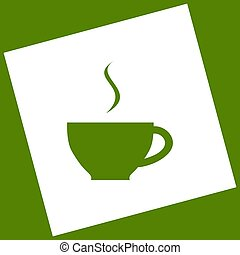 Cup sign with one small stream of smoke. Vector. White icon obtained as a result of subtraction rotated square and path. Avocado background.