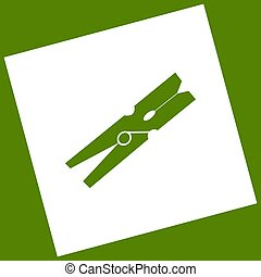Clothes peg sign. Vector. White icon obtained as a result of...