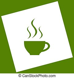 Cup sign with three small streams of smoke. Vector. White icon obtained as a result of subtraction rotated square and path. Avocado background.