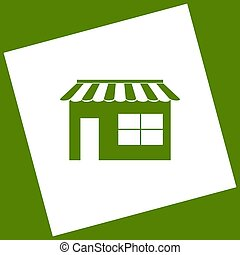 Store sign illustration. Vector. White icon obtained as a result of subtraction rotated square and path. Avocado background.
