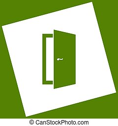 Door sign illustration. Vector. White icon obtained as a result of subtraction rotated square and path. Avocado background.