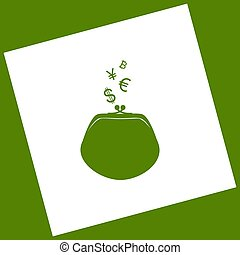 Wallet sign with currency symbols. Vector. White icon obtained as a result of subtraction rotated square and path. Avocado background.