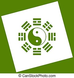 Yin and yang sign with bagua arrangement. Vector. White icon...