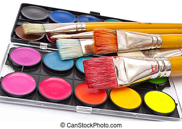 Watercolor paints set with brushes