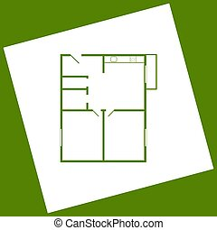 Apartment house floor plans. Vector. White icon obtained as a result of subtraction rotated square and path. Avocado background.