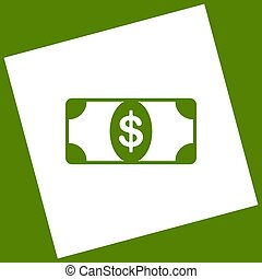Bank Note dollar sign. Vector. White icon obtained as a result of subtraction rotated square and path. Avocado background.
