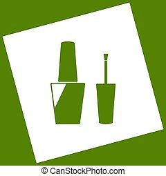 Nail polish sign. Vector. White icon obtained as a result of subtraction rotated square and path. Avocado background.