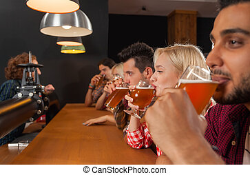 Young People Group In Bar, Barman Friends Sitting At Wooden...