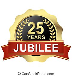 button 25 years jubilee - gold button with red banner for 25...