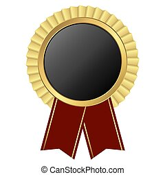 gold button with ribbon - template of round black button...