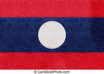 Flag of Laos Grunge.