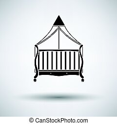 Crib with canopy icon on gray background, round shadow....