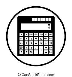 Statistical calculator icon. Thin circle design. Vector...