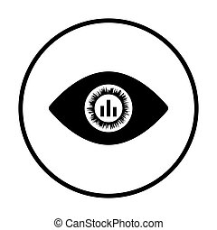Eye with market chart inside pupil icon. Thin circle design....