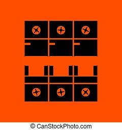 Circuit breaker icon. Orange background with black. Vector...