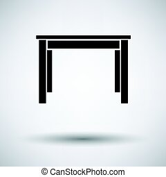 Dinner table icon on gray background, round shadow. Vector...