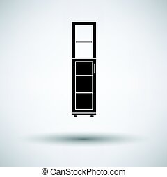 Narrow cabinet icon on gray background, round shadow. Vector...