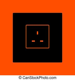 Great britain electrical socket icon. Orange background with...