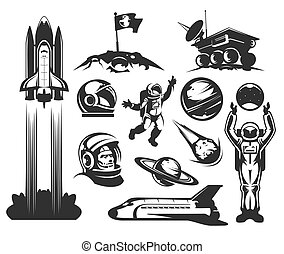 Set of vector icons space. - Set of vector icons of space....