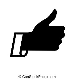 thumbs up icon - thumbs up, black icon isolated on white...