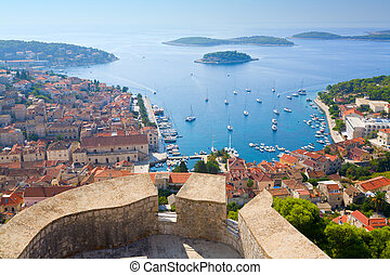View of Hvar - View of the city of Hvar in Croatia from the...