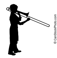 Female playing trombone - Illustration of a young female...
