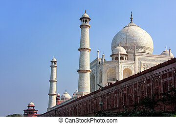 View of Taj Mahal with sandstone wall from Yamuna river,...