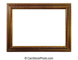 Wooden picture frame. Isolated over white