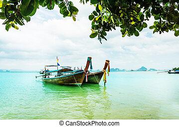 Long tail boat tropical beach, Krabi, Thailand - Long tail...