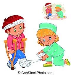 Vector little girl a nurse banding a leg to a little boy on crutches