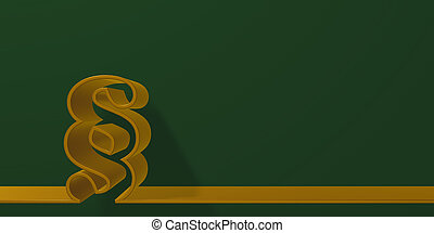 paragraph symbols on green background - 3d rendering