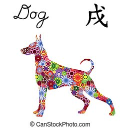 Chinese Zodiac Sign Dog, symbol of New Year on the Eastern...